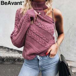 suéter de un color de punto Rebajas BeAvant Un hombro de cuello alto de color rosa de punto Mujer giro suéter jersey de las mujeres Casual streetwear otoño invierno suéter S929