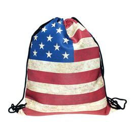 Rucksackflagendruck online-Jungen Mädchen Amerikanische Flagge Rucksack Sterne Streifen Druck Kordelzug Student Schultasche Reise College Rucksack C4385