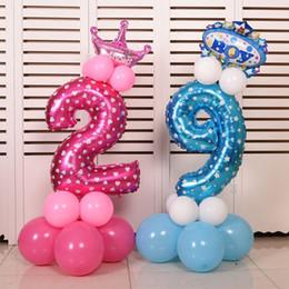 Canada 32 pouce Rose Bleu Nombre Feuille Ballons Chiffres Ballons Hélium D'anniversaire De Mariage Décoration Air Ballons Événement Fête Fournitures Offre