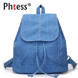 Wholesale Corduroy Jeans - PHTESS Women Canvas Backpacks for teenage Girls Small Drawstring Backpack jeans for Teenage Sac A Dos New Solid School Rucksacks