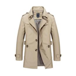 Новый тренч куртка мужская мода дизайн Весте Homme формальные Весна Зима костюм пальто сплошной хлопок хаки м-5XL мужчины ветровка куртка от
