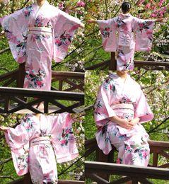 Argentina Moda Vintage Yukata japonés Haori Kimono Obi vestido de noche un tamaño Pink pavo real japonés tradicional Kimono envío gratis cheap pink japanese kimono Suministro