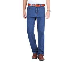 Wholesale Thin Overalls - 2018 Mens Classic Thin Summer Jeans Blue Male High Waist Denim Overalls 100% Cotton High Quality Brand Men Jean Pants Size 40 42