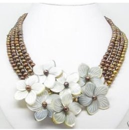 Wholesale necklace rows white pearl - 4 Rows 6-7mm Chocolate pearl MOP flower Shell necklace
