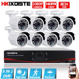 Wholesale Hdmi 8ch - Security Camera System 8ch CCTV System 8 1080P CCTV Camera 2.0MP Surveillance Kit 8ch DVR 1080P HDMI Video Output
