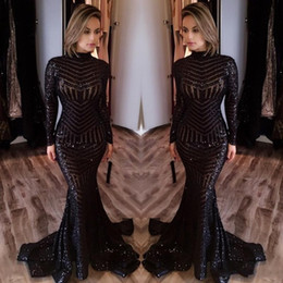Wholesale Evening Gown Ruffle High Mermaid - Stunning Black Long Evening Dresses Cheap 2018 Sexy Sequins Mermaid Sweep Train Formal Party Prom Gowns