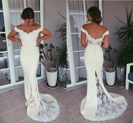 Wholesale elegant backless evening gowns - 2018 Gorgeous Mermaid Evening Dresses Off The Shoulder Lace Appliques Satin Backless Prom Dresses Elegant Evening Gowns Sweep Train