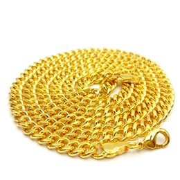 Wholesale Cuba Wholesalers - Wholesale Mens Hip hop Jewelry 18K Gold Plated Cuba link Chain Necklaces Fashion Party Necklace for Men