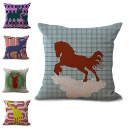 linen giraffe cushion cover Coupons - Deer Giraffe Horse Pillow Case Cushion cover linen cotton Throw Square Pillowcase Cover Home Decor Drop Ship 300860