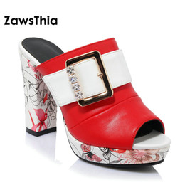 Wholesale High Heeled Slippers For Women - ZawsThia 2018 summer ladies block high heels slides slippers woman PU leather crystal buckle platform mules pumps for women