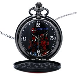 Wholesale Cool Pocket Watches - Fashion Cool SPIDER-MEN Black&Red DEAD POOL Cosplay Necklace Quartz Pocket Watch Pendant Men Boy Gift