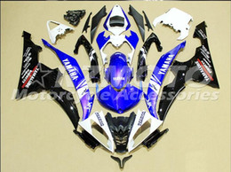 Wholesale yamaha r6 blue fairing kits - 4 Free Gifts New Injection ABS Fairing kits 100% Fit for YAMAHA YZFR6 08 09 10 11 12 13 14 15 YZF R6 2008-2015 YZF600 set Blue White Q1