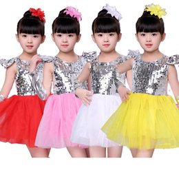 Wholesale Costume Dress Jazz - New 2018 Girls Kids Children's Stage Jazz Dance Clothes Dancewear For Girls Sequins Ball Gown Tutu Princess Dress Costumes Yellow Red Pink