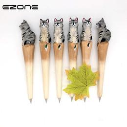 Деревянные дети животные онлайн-EZONE Wood Carving Cat Ballpoint Pen Handmade Animal Ball Pen Office Black Gray Cat Stationery School Writing Supplies Kid Gift