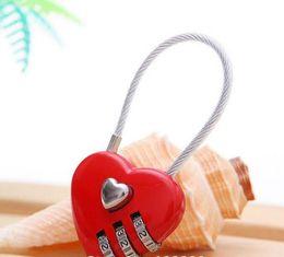 Wholesale Luggage Locks - 100pcs Lovely Heart Shape Resettable Combination Padlock Metal Luggage Suitcase Bag Diary 3 Digits Lock Cabinet Safe