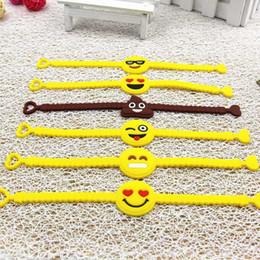 2019 sagome di poltrone usate Braccialetto del silicone di polsino del fumetto del braccialetto di Emoji per il fronte giallo 30pcs / bag dei gioielli dei gioielli della ragazza delle donne