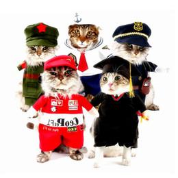 Wholesale Sailor Costume Sexy - Halloween Cat Costumes Sexy Nurse Policeman Cowboy Sailor Doctor For Pet Cat Clothes Uniform Hat Suit