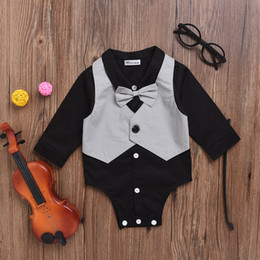 Wholesale Onesie Dresses - New! Toddler Baby Boys Jumpsuits Gentleman Modelling One-piece Romper Children Bow Tie sleeveless Onesie Kids Outwear Formal Dress Clothes