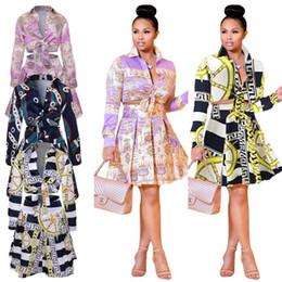 Más el tamaño S-XXXL Mujeres Casual Fiesta Noche Caída Manga larga Vestido de una línea Camisa estampada Falda plisada Dos piezas desde fabricantes