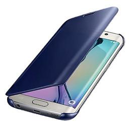caso di flip della galassia di samsung Sconti 2018 per Galaxy S9 PLUS S8 S8 Plus Nota 8 S7 EDGE S6 Edge e S6 Edge Plus Case, J7 Prime, Mirror View Clear Custodia Flip Cover Specchio iperbolico