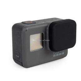Materiais de silicone on-line-Tampa de Lente protetora Soft Silicone Borracha Material Dustproof Scratchproof Cap para Sports Action Camera 5 Preto