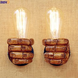 Wholesale Lampe E27 - Wholesale-IWHD Resin Fist LED Wall Lamp Vintage Lampe Bedroom Stair Light Retro Edison Wall Lights Fixtures Sconce Right Or Left