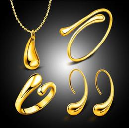 Argentina Boda de moda conjunto de joyería nupcial gota de agua brazaletes + collar + anillos + pendientes conjuntos para mujer joyería 4pcs 1set KKA6131 supplier necklaces sets for women Suministro