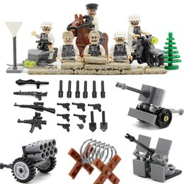 Wholesale Soldier Sets - 6pcs Military Figure Germany Snow Army Rider Ski Cavalry Soldiers Weapon Building Blocks Set Kits Toys Bricks for Children