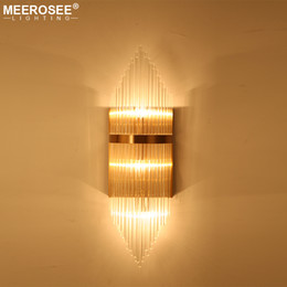2019 luzes laterais do quarto Modern Cristal Luz Da Parede Luminária de Parede de Ouro Lustre Lado Luzes Da Cama para o Estudo Do Quarto Varanda Lâmpadas Incandescentes MD85503 luzes laterais do quarto barato
