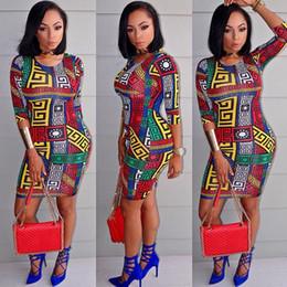 Wholesale Ethnic Shorts - Ladies Sexy Fashion Pencil Bodycon Half Sleeved Ethnic Pattern Print Mini Short Dress Womens Dresses