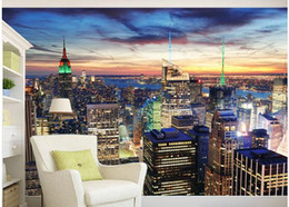 city bedroom wallpaper Promo Codes - custom photo wallpaper Beautiful city scenery new york night scene tv background wall painting