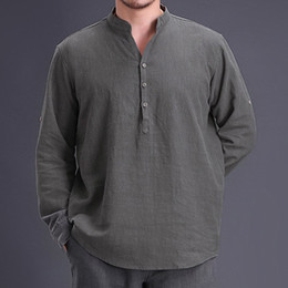 f5fbc9e80f07ea Chinese Style Cotton Linen Plain Shirt Men Long Sleeve Henley Casual Shirt  Vintage Retro Clothing Hombre 2018 New Spring Autumn on sale