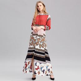 2018 langarm-rayon maxi kleider Boho Stil langes Kleid Frauen Langarm-Shirt  Kleider Punktdruck b09571f110