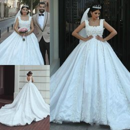 Wholesale africa flowers - Glamorous Middle East Floral Beads Lace Wedding Dresses Plus Size Ball Africa Country Custom Vestido de novia Formal Bridal Gown Arabic