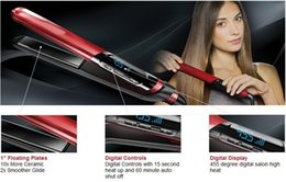 "hair straightening machines Promo Codes - 2018 High-quality first-class hair straightener S9600 ceramic 1 ""straight iron 110V-240V straightening machine iron 455F red"