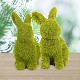 Wholesale Handmade Bunny Rabbit - Handmade Artificial Turf Grass Animal Easter Rabbit Home Office Ornament Room Office Decor Easter Bunny Handwork Gift