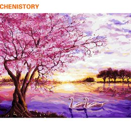 Wholesale Art Modern Oil Painting Purple - Wholesale-CHENISTORY Purple Romantic DIY Painting By Numbers Modern Home Wall Art Picture Hand Painted Oil Painting For Wedding Decoration