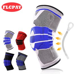 Wholesale volleyball knee protectors - 1 Piece Weaving Silicone Padded Knee Pads Supports Brace Volleyball Basketball Meniscus Patella Protectors Sports Safety Wholesale Kneepads