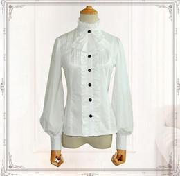 Camisa feminina clássica de colarinho branco on-line-Camisa Chiffon das mulheres do vintage Longo Lanterna Manga Gola Feminina Blusa Gótico Preto / Branco clássico Camisa lolita