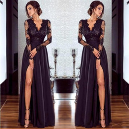 Wholesale Cheap Vintage Fashion - Sexy Split Long Sleeve Evening Dresses 2018 Cheap Black V Neck Lace Prom Dress