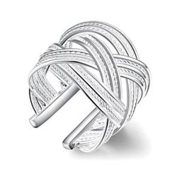 Titan-mesh-platte online-Exquisite Mode Silber vergoldet große Mesh Ring Schmuck Twist offenen Ring
