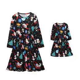 mother and daughter christmas dresses 2018 family matching long sleeve clothes mommy and me outfits family look