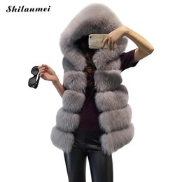 Fuchspelz kapuzenjacke online-Frauen Mäntel Jacke Gilet Veste Luxus Fell Kapuze Weste Mantel hohe Qualität Faux Fox Westen Winter Mode Pelze warme Frauen Mantel