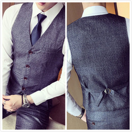 Wholesale Slim Fit Suits Dresses 46 - Mens Suit Vest Men British Wedding Slim Fit Men Dress Blazer Vests Single Breasted Casual Waistcoat Party