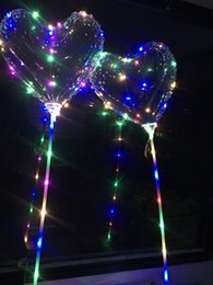 Wholesale Love Toy Heart - LED Heart Shaped Balloons Valentine's Day Lighting Bobo Ball Lighting Love Balloon Wedding Decorative Bright Lighter Balloons With Stick