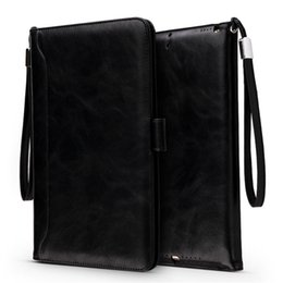 Wholesale Holster Business Card Case - Lanyard for ipad 9.7 2017 Tablet PC Case Business Handheld Card Holder ipad pro 10.5 Holster leather case for hand bag