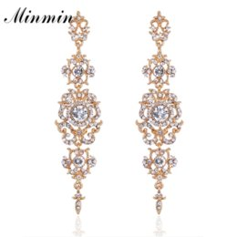 Wholesale Bridesmaid Gifts Bride - Minmin Silver Color Crystal Wedding Long Earrings Floral Shape Chandelier Earrings for Women Brides Bridesmaid EH182