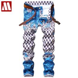 Мужские джинсы онлайн-Fashion designer pantalon homme light blue slim fit skinny jeans pp fashion hip hop casual pants mens printed plaid jeans men