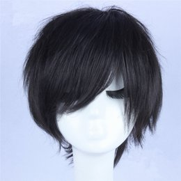 pelucas de cabello barato hombres Rebajas ZF Shot Negro Anime Cosplay Peluca Hombres Pelucas Pelo Sintético Recto Naturaleza Barato Traje Peluca Chico Guapo estilo