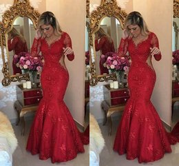 Wholesale printed satin prom dresses - 2018 Red Vintage Lace Evening Dresses Cutaway Sides Long Sleeves Beading Mermaid Formal Evening Gowns Floor Length Custom Made Prom Dresses